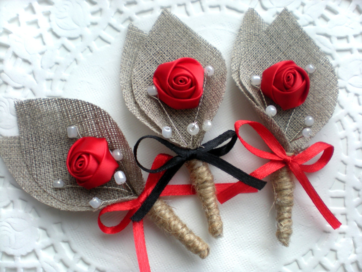 RED And BLACK Burlap Groom's Boutonniere For Wedding