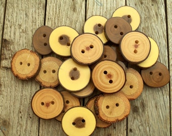 NEW - 24 Buttons - 4 Kind Tree Branch Buttons - 1 2/5 inches in diameter