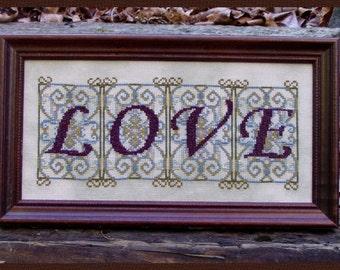 "Cross Stitch Instant Download Pattern ""Love"". Counted Embroidery Chart. Romantic Design. Love. Valentine's Design. X Stitch. DIY Home Decor."