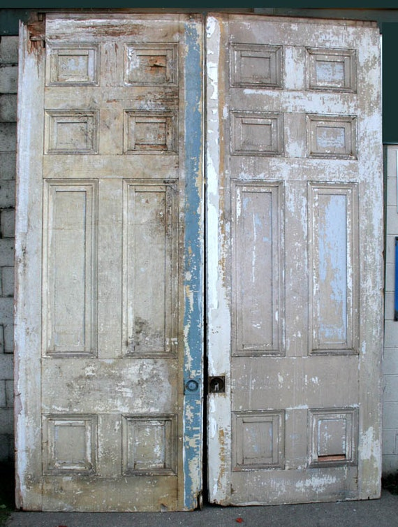 96x129 antique pair distressed interior pocket for Distressed wood interior doors
