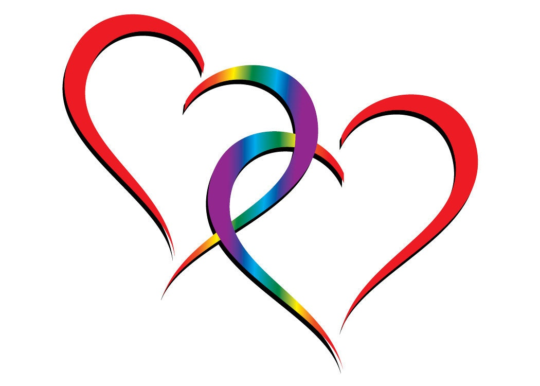 Two hearts one love Rainbow Hearts entwined