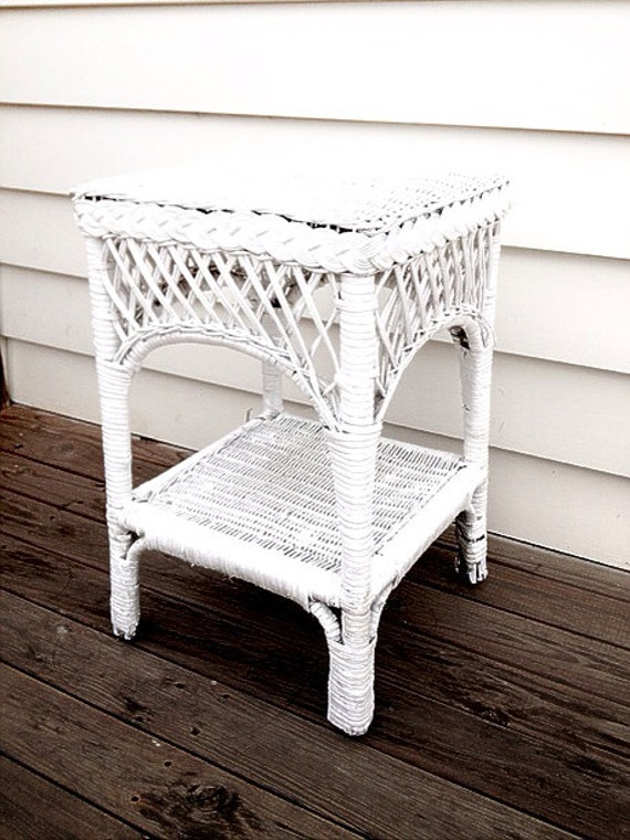 White Wicker Side Table Bedside Table Refurbished Upcycled