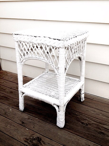 White Wicker Side Table Bedside Table Refurbished By