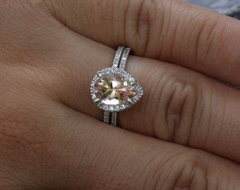 Pear Morganite Engagement Ring with Matching Side Diamond Band