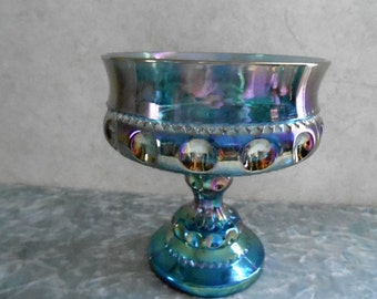 1970's Indiana  Blue Carnival Glass King's Crown