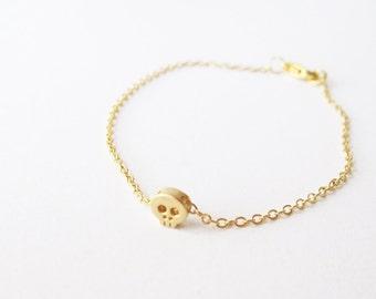Tiny Gold Skull Bracelet