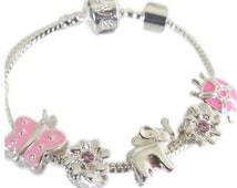 Childrens Charm Bracelet Pink & Silver Baby Elephant ladybird Turtle Sparkling Flowers