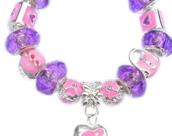 Childrens Charm Bracelet Pink & Purple Cameo Girl