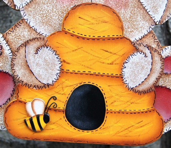 Beehive and bee interchangeable hand set wood home decor for Bee decorations for the home