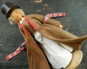Vintage folk figurine Vintage folk doll Wooden folk souvenir Collectible