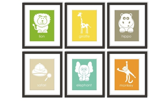 safari animal art baby zoo animals choose colors by twowhiteowls. Black Bedroom Furniture Sets. Home Design Ideas