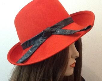 Winter Orange Vintage 60s Luxor Wool Hat