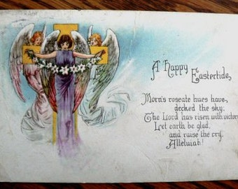 vintage POSTCARDS ...  HAPPY EASTERTIDE stamped 19xx ...