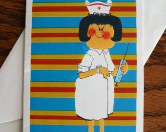 vintage cards ... NURSES with NEEDLES .Spider fun Get WELL  retro Card w envelope ...