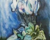 Original Large Painting - White Flower in Blue - Large Canvas Contemporary Art - Oil on canvas - 28x39 inches (70x100 cm)