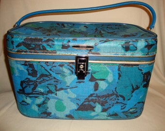 Vintage Sears Featherlite Blue Floral Travel Case Luggage Cosmetic Bag Storage Sears Featherlite
