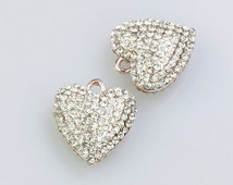 Pave Heart Pendant, Rose Gold Pendant, Bracelet Pendant and Necklace Pendant, with AAA Rhinestones, 18x25mm, Pkg of 1 PCS, C0EH.RG04.P01