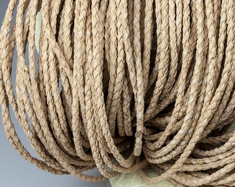 2mm Braided Leather Cord, Lion Genuine Leather Cord, Round Leather Cord, Pkg of 1 meter, D0F9.LR78.L1M