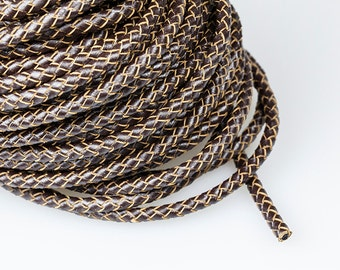 Brown Braided Leather Cord, 5mm Leather Cord, Genuine Round Leather Cord, Pkg of 1 meter, D0FA.BN76.L1M