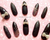 Cat woman Black matte leopard Nails with glitter and bows stiletto animal print 3D extra long False/Fake claw Nails Gyaru Glam