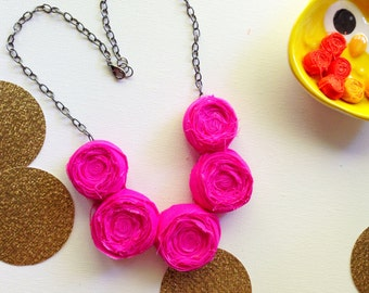 Fuschia Rosette Necklace