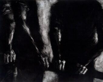 "Haunting Figure Monotype Print, ""Waiting Study No. 14"""