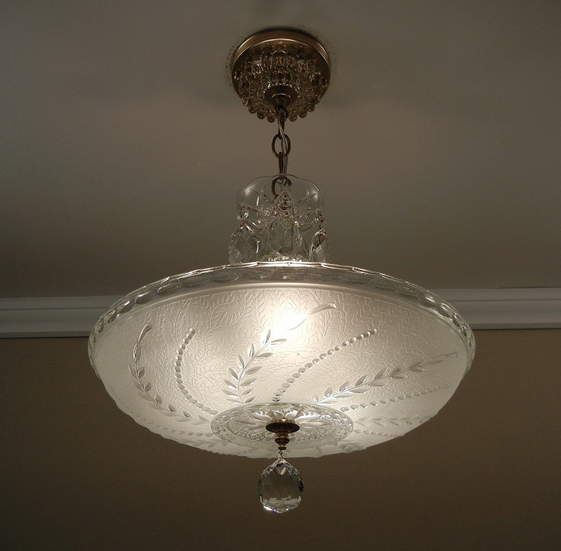 Vintage 1940's Soft White Pressed Glass Antique Ceiling
