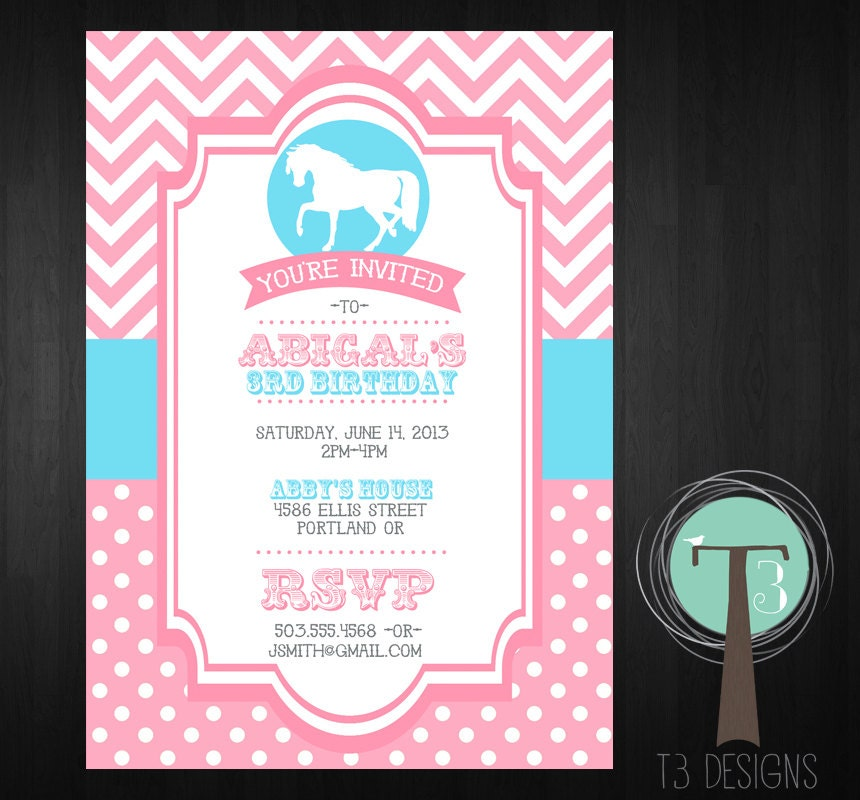 Horse Birthday Invitation Pony Birthday Invitation Girls