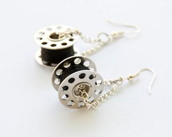Needlewoman's earrings - black thread