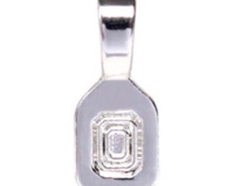 5 - Small Smooth Silver Plated Glue on Bail