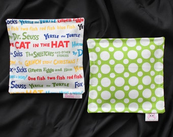 100% Flaxseed Boo Boo Pack Set  - Dr Seuss - Dots - Green Red Blue White - Unscented Washable Reusable Hot Cold Packs for Kids