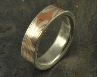 Star pattern copper/silver mokume gane ring