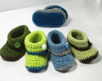 Crochet booties -  for baby  boy. (made to order)