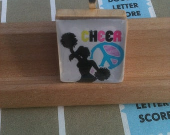 Cheerleading and Peace Sign Scrabble Tile Pendant