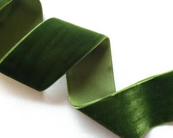 Moss Green Velvet ribbon-2 yard increments