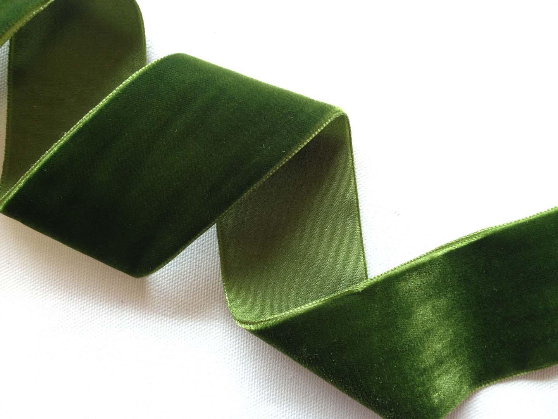 Moss Green Velvet Ribbon 2 Yard Increments