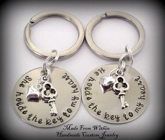 Long Distance Relationship Key Chain Set- You hold the key to my heart-Relationship key chains