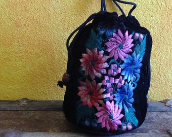Hand Embroidered Drawstring Purse from Michoacan, Mexico