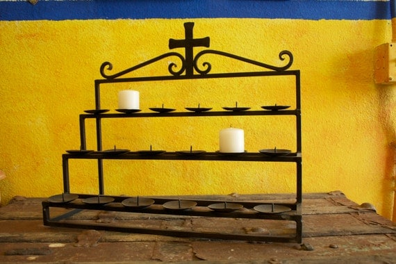Altar, wrought iron, table top, eighteen candles