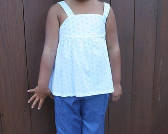 Clearance- Girls Size 4 Skirted Top and Ruffle Bottom Capri's Outfit