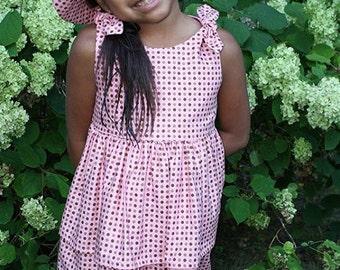 Clearance- Girls Size 4 Pink Polka Dot Dress & Matching Bucket Hat