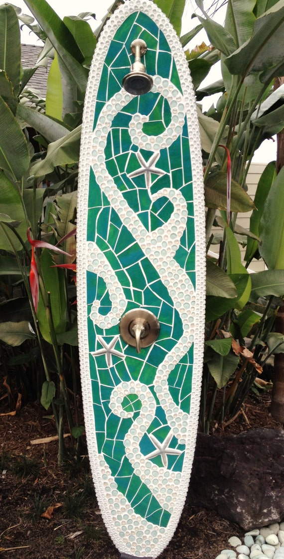 Items similar to longboard outdoor surfboard shower with for Diy outdoor shower surfboard