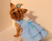 Clearance Dog dress, Blue Plaid
