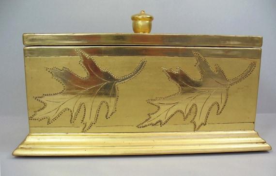 Gold Box Gilded Box Handmade Engraved Box Oak Leaves Wedding Gifts For ...