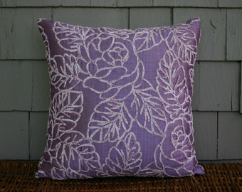 """CLEARANCE-Lilac Raised Leaf -Decorative Throw Pillow 18"""" x 18"""" CORE INCLUDED"""