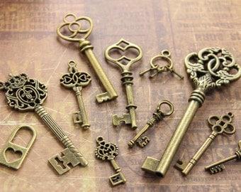 11pcs Antique Brass skeleton Key and Lock Charm Steampunk Supplies