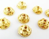 8 Mini Rustic Dotted Round Beadcaps - Matte 22k Gold Plated