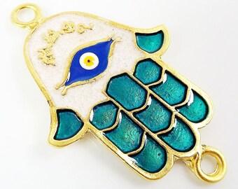 Aqua Hamsa Hand of Fatima Enamel Blue Evil Eye Connector - Matte Gold Plated - 1PC