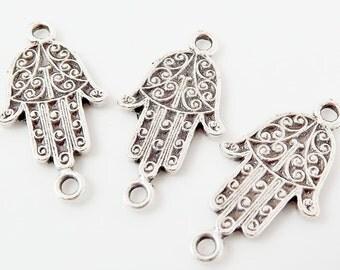 3 Mini Ornate Hamsa Hand of Fatima - Matte Silver Plated