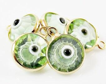 5 Mint Green Evil Eye Nazar Swarovski Crystal Charms - Gold Plated Brass Bezel